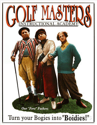 Three Stooges Golf Masters Tin Sign - 12.5x16