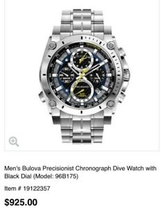 NEW PRICE! BEAUTIFUL NEVER WORN BULOVA PRECISIONIST 96b175!!