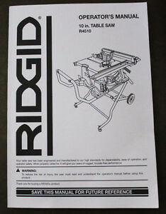 "Ridgid R4510 Table Saw ""Operator's Manual"", 45 pgs"