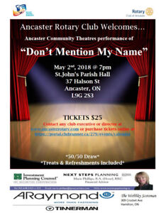 Ancaster Community Theatre Tickets: Don't Mention My Name