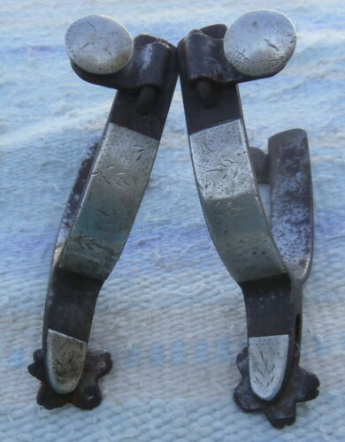 Old Antique Silver/ Iron marked Crockett Horse Spurs
