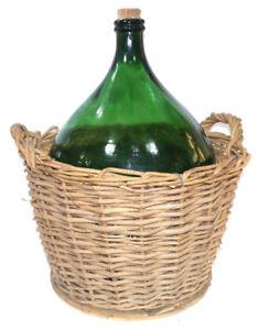 demijohn green antique wine bottle with dark wicker basket/lid
