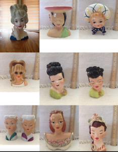 42 Vintage Lady Head Vases from 50's & 60's