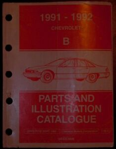 1991 1992 Chev B Caprice & Classic Parts & Illustrations catalog