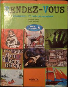 Rendez-Vous,Francais,1er cycle du secondaire,Manuel de l'eleve A