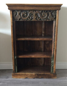 Morningstar  Indian harwood bookcase with antique sculpted panel