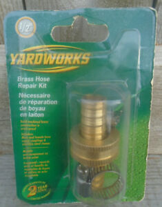 "YARDWORKS 1/2"" BRASS HOSE REPAIR KIT MALE/FEMALE UNOPENED"