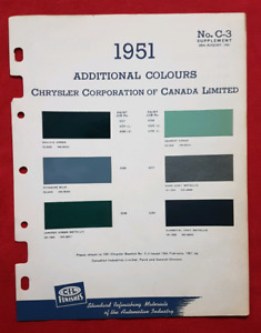 1951 CHRYSLER PLYMOUTH DODGE Paint / Colour Chips CIL