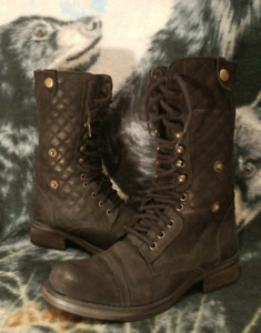 Steve Madden Black Suede Combat Insulated Boots Womens Sz 9