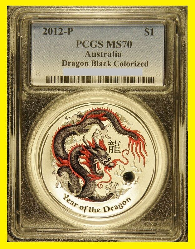 2012 P Australia Black COLORIZED SILVER DRAGON  1 OZ  PCGS MS 70