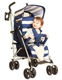 My Babiie (Billie Faiers TOWIE) blue and white striped lightweight pushchair with accessories