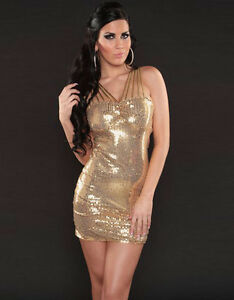 YELLOW Gold Sequin Dress Small Medium