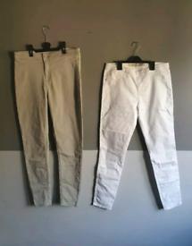 womens super stretch skinny jeans jeggings bundle x2 white grey 14 L