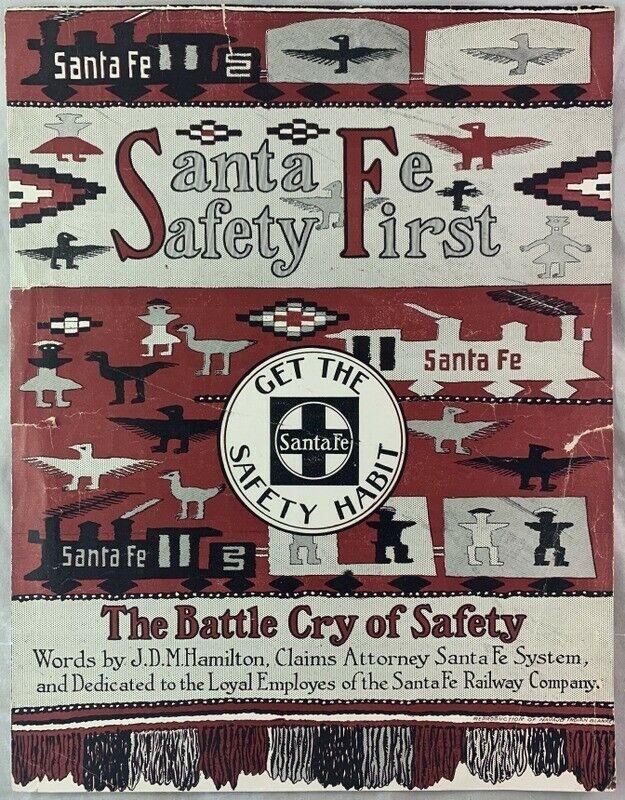 early 1900s Santa Fe Railroad Safety Sheet Music Navajo Indian Blanket Art