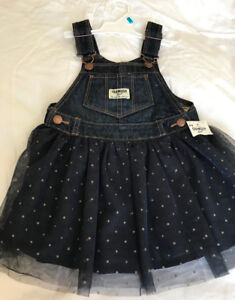 OshKosh Brand New 24M Denim Overalls Skirt Glitter Tulle Jumper