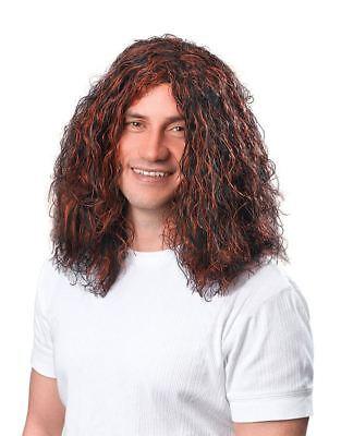 Mens Long Brown 60 70's Shaggy Wavy Fancy Dress Hippy Wig