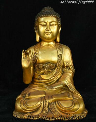 "16"" Rare China Tibet Buddhism Bronze Shakyamuni Amitabha Buddha Tathagata Statue"