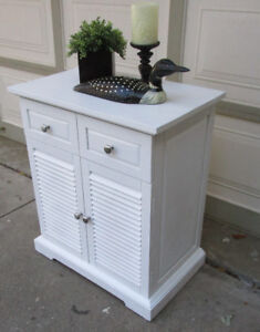 PIER 1 PLANTATION STYLE WHITE STORAGE CABINET/TABLE - GRT. COND.