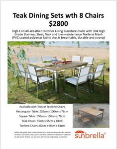 Teak Outdoor Dining Set with 8 Chairs