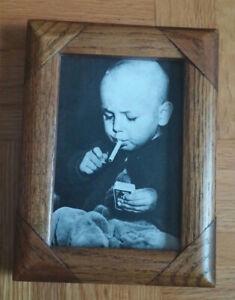 Antique Kid Lights Up Framed Photo