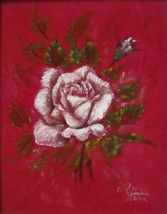 Roses On Velvet Oil Painting Unframed