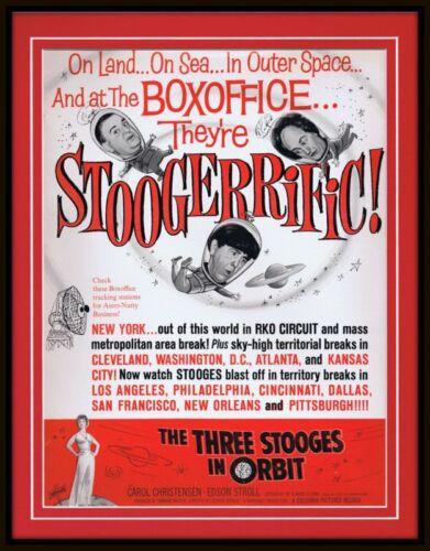 ORIGINAL Vintage 1962 Three Stooges Stoogerific 11x14 Framed Advertisement
