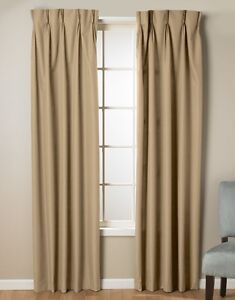"""MyHome Foamback Pinch Pleat 96""""x84"""" Panel Pair Camel, New"""