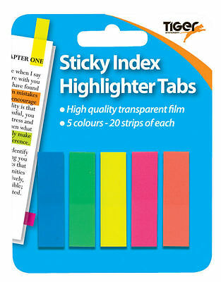 Pack of 100 Sticky Adhesive Post Highlighter Index Tab Flags It Neon Page Marker