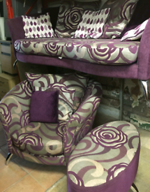 Settee and swivel chair