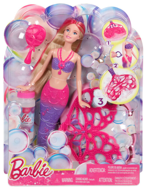 BARBIE BUBBLE TASTIC MERMAID SPINING TAIL TO MAKE BUBBLES DOLL BRAND NEW CFF49
