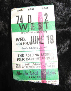 Vintage Rolling Stones Ticket Stub from 1975