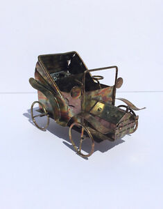 Vintage copper/tin Music Box - Roadster display gift