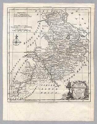 Westfalen-Westphalia Kupferstich-Karte von T. Kitchin um 1770