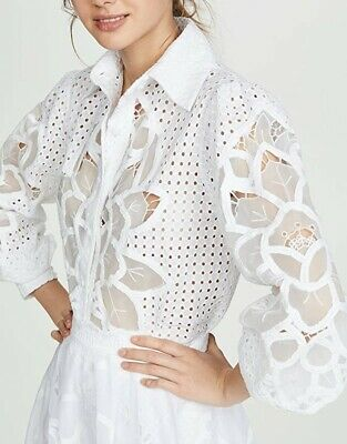 WOW! New Tags Costarellos white laser cut blouse $865 Us size 12