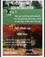 Sod and mulch installs, power washing and gutter restoration