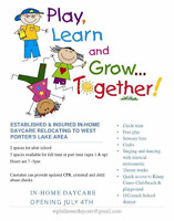 Inhome Daycare West Porters Lake