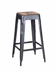 Tolix Style Bar Stool Grey Silver Barstool Iron Wood Industrial