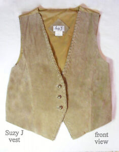 Women's leather vest, light brown suede, Suzy J, M