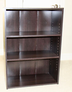 3-Shelf Bookcase, two of which are adjustable