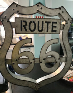 RETRO VINTAGE LOOKING 3D METAL ROUTE 66 SIGN NEW