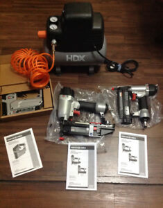 NEW HDX AIR COMPRESSOR WITH 2 STAPLE GUNS /FINISHING NAIL GUN