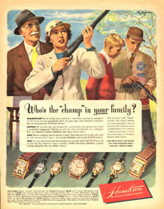 1948 full-page magazine ad for Hamilton Watches