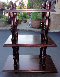 Solid wooden cherry clooured three tier bookcase shelving unit London Ontario image 7