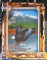 Holographic Eagle Art in Wood Frame