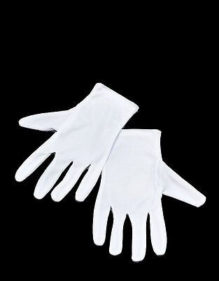 Adult White Gloves Officer Halloween Ghost Mime Maid Fancy Dress Mens Ladies NEW