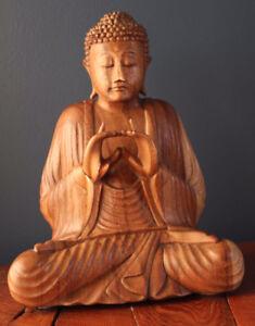 SCULPTURE BOUDDHA EN BOIS  /  BUDDHA WOOD SCULPTURE