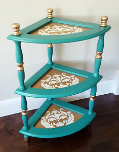 Turquoise & Gold Stenciled Corner Table