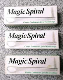 "3 x NEW BOXED & UNUSED ""MAGIC SPIRAL"" Kitchen UTENSIL for GARNISHINGS"