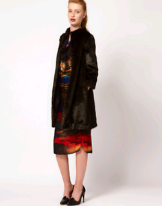 Ted Baker Risel Faux Fur Coat in Dark Brown