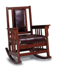 Mission Style Oak Finish and Leather Match Rocker Rocking Chair 600058 ...